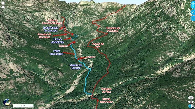 Photo aérienne 3D de la Figa Bona et du Carciara avec les chemins de Paliri et du Carciara en cours de restauration