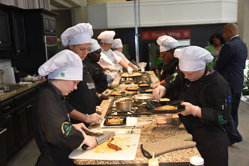 Montgomery County School District 4H Culinary Jr. Chef teammates Landon Holley, Jennie Walters, Jamila Green, Mackenzie Green and Hayden Holley, prep their first-prize winning plate