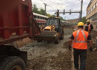 ESA/Amtrak forces grading the area for the new Loop Central Instrumentation Hut (CIH) which will control the tracks, switches and signals along the loop track used by Amtrak at the eastern end of Harold Interlocking and Sunnyside Yard. (FQA65, 10-13-2017) | by NYMTACC
