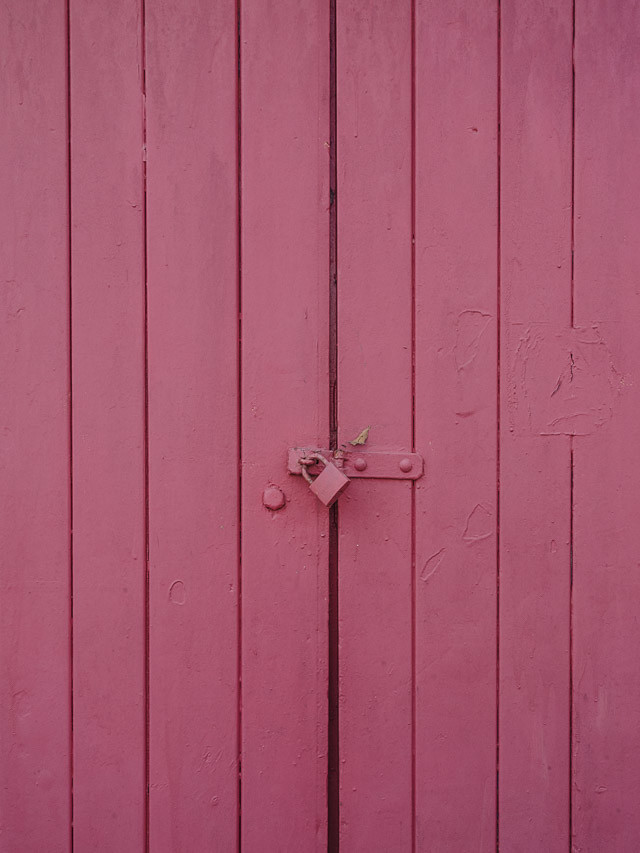 pink doors with lock