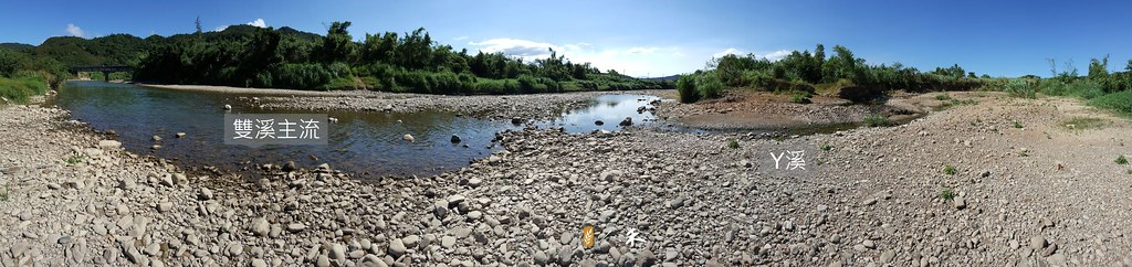 攝影者所站位置是Y溪及雙溪主流的匯流口!但腳下的水都伏流到礫石床下,連主流都露出大面積礫灘,很難想像這是東北角第一大河。。圖片來源:人禾基金會。