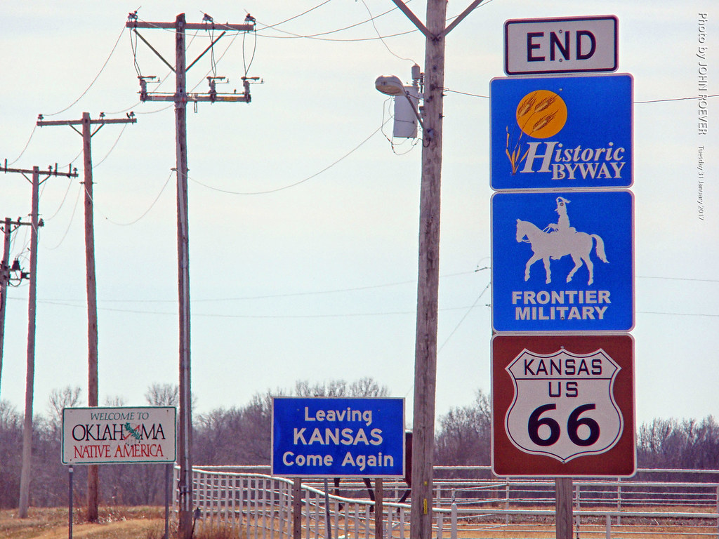 end of route 66 in kansas, 31 jan 2017 | driving southbound … | flickr