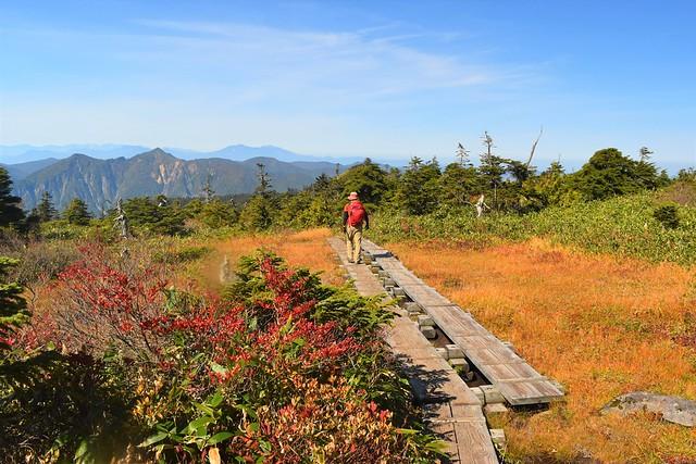 苗場山山頂から小赤沢コースへ