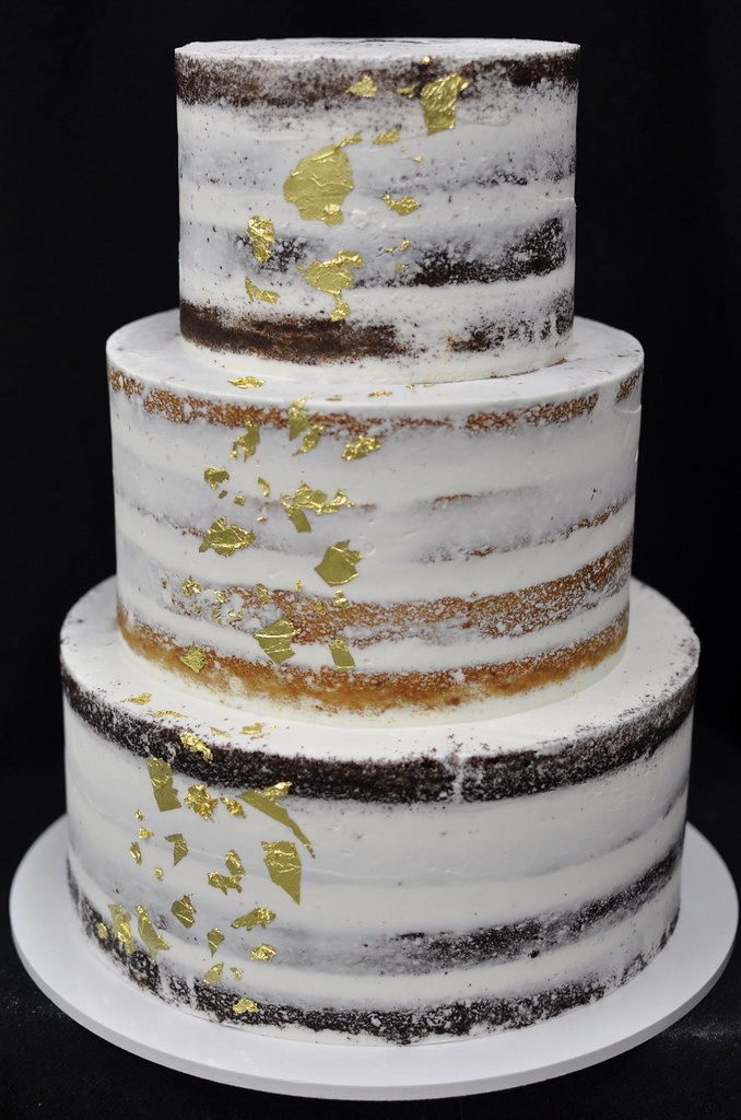 Gold Leaf Nearly Naked Wedding Cake Jenny Wenny Flickr