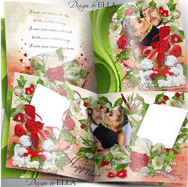 Template for a wedding photobook PSD format