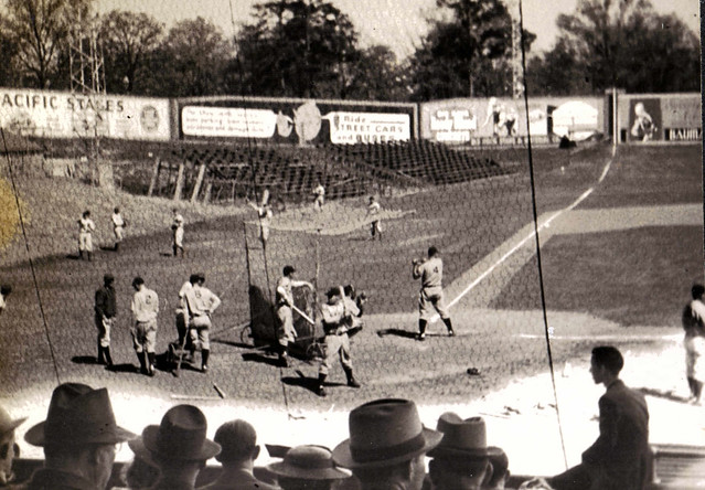 Lou Gehrig at bat during the New York Yankees exhibition at Travelers Field in Little Rock on April 9th, 1939.