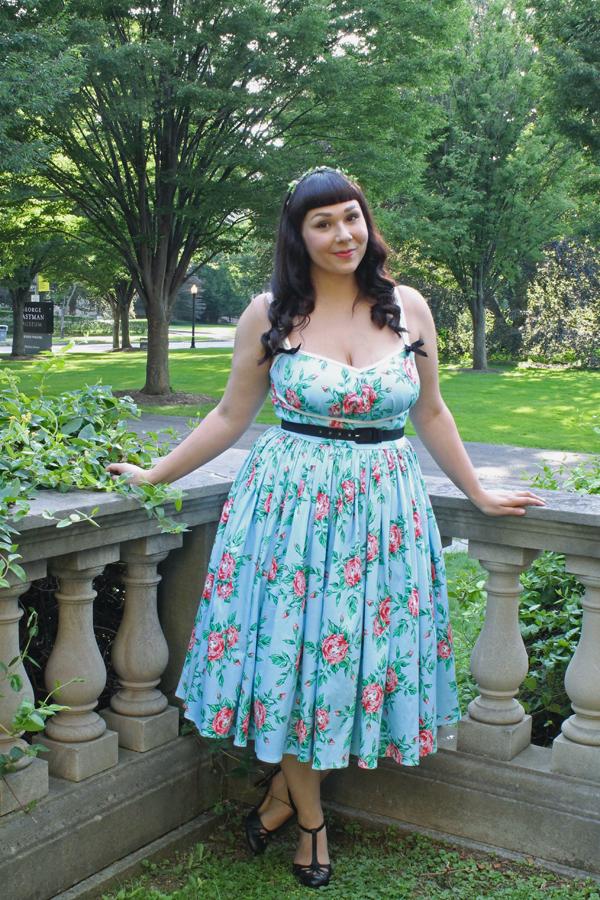 vintage rose print dress