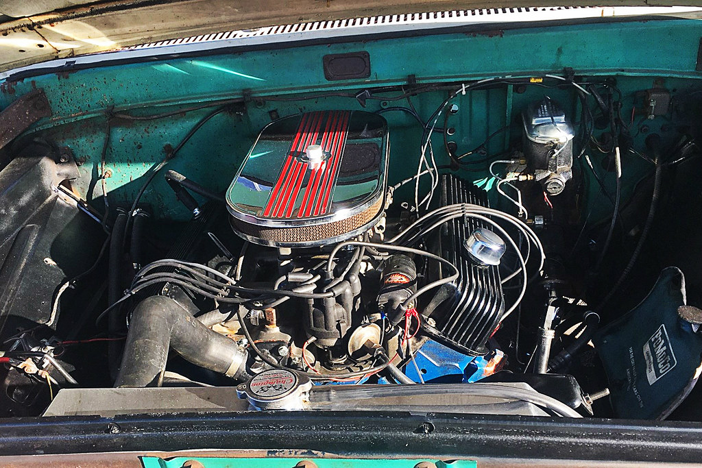 65 F100 green and white with patina engine | 40th Annual F10