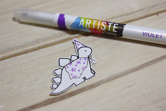 How to make Halloween treat bags using the Birthday Dinos range - Step 6 add a wizard cape