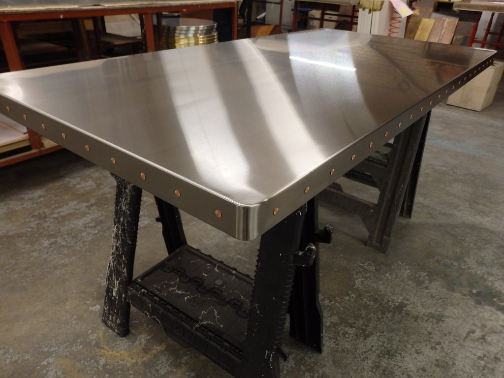 stainless steel table top. 82 - Satin Stainless Steel Table Top With Copper Rivets | By Metal Sheets Limited