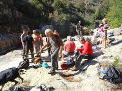 Déjeuner de groupe dans les vasques de la confluence Carciara/Peralzone