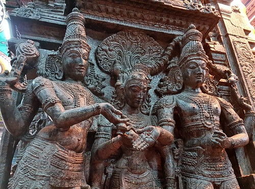 Vishnu presiding over the marriage of Shiva and Parvati (Meenakshi), Meenakshi Temple, Madurai (3) | by Prof. Mortel