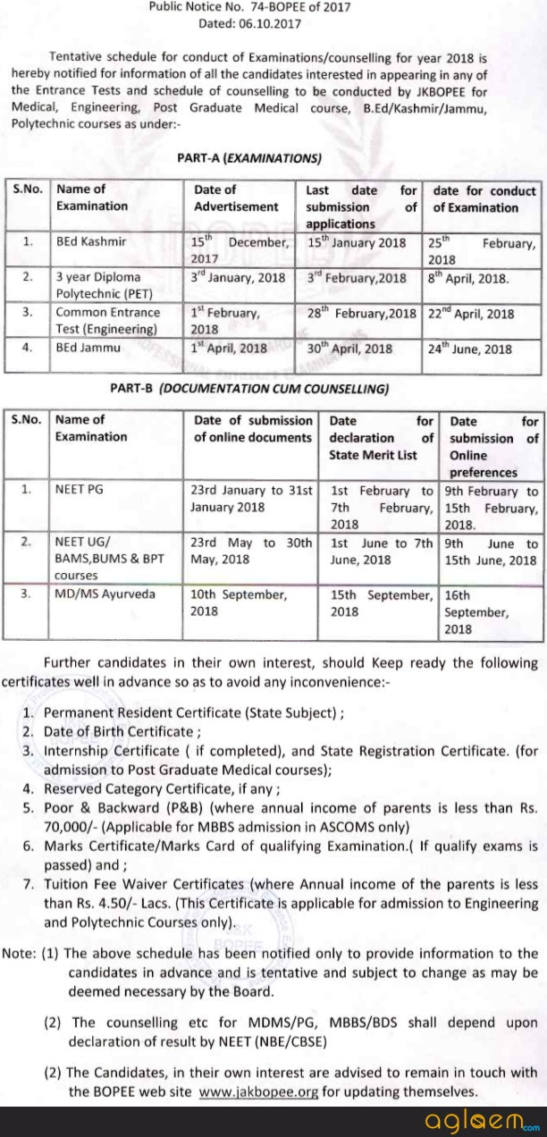 JAKBOPEE   Jammu and Kashmir Board of Professional Entrance Examinations