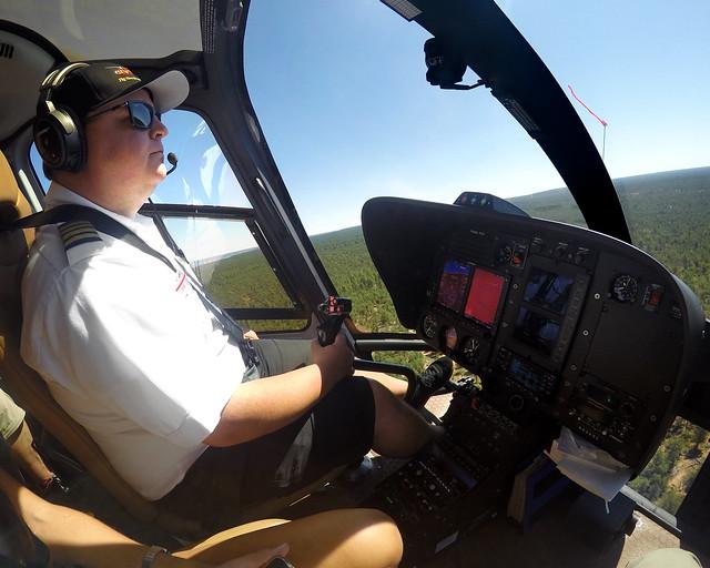 Nuestro piloto durante el vuelo en helicóptero por Tusayan y el Gran Cañón