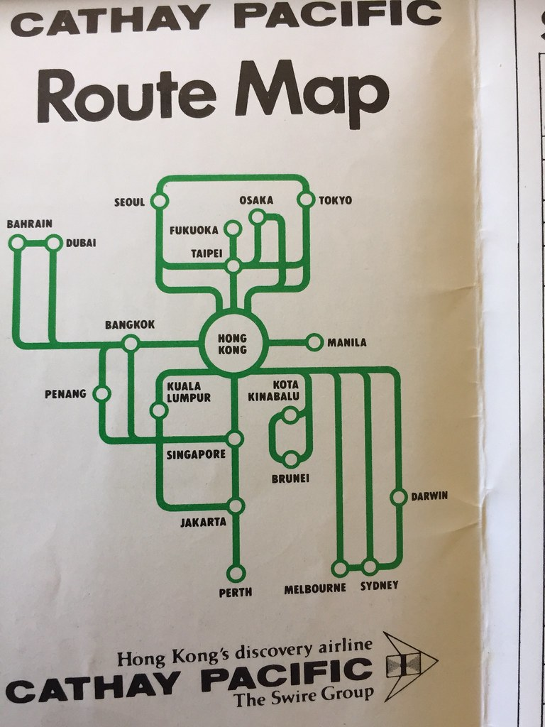 the cathay pacific route map for 1978. the tristar was bei…   flickr