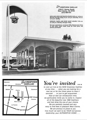 Crestview Cadillac, West Covina CA, Dec. 1989 | by aldenjewell