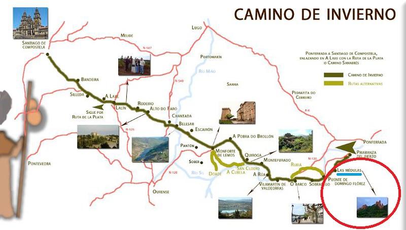 Mapa del Camino de invierno a Santiago con parada en Las Médulas