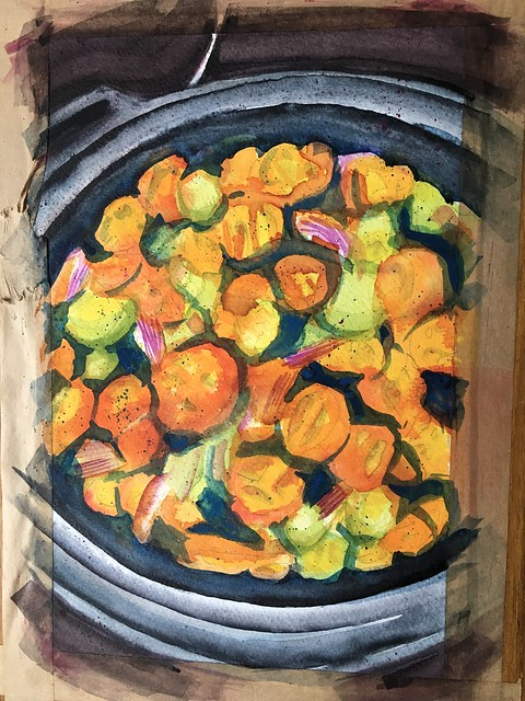 Painting of a colourful pan of tomatoes. Uncropped