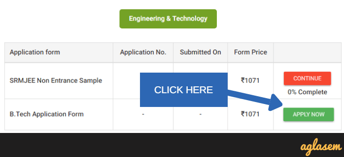 SRMJEEE 2018 Application Form