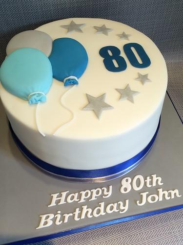 Men S 80th Birthday Celebration Cake Blue White Amp Grey