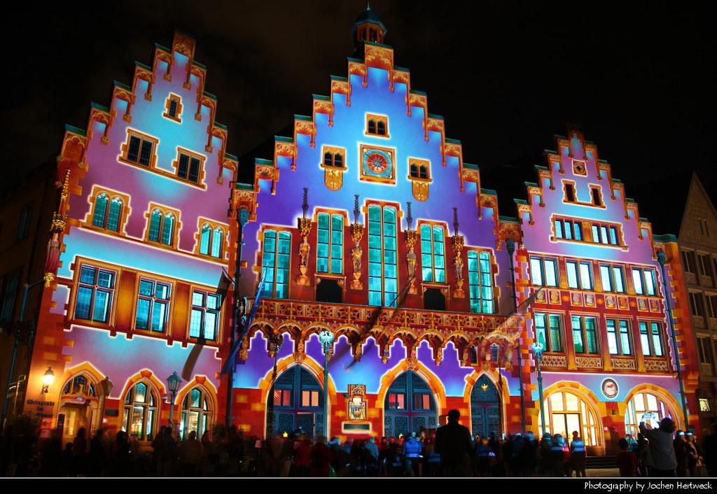 Light show, Rathaus, Frankfurt, Germany