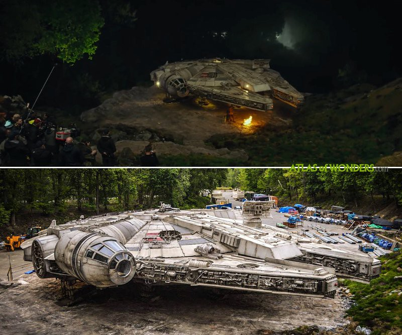 Millennium Falcon set in the soundstage