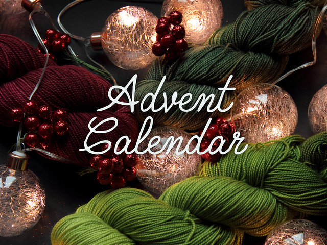 Yarn Advent Calendar! 24 x 20g hand-dyed sock mini-skeins, wool project bag and handmade treats