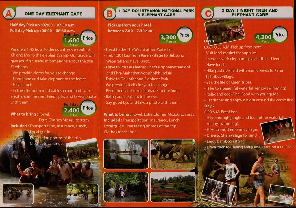 doi inthanon elephant park chiang mai thailand brochures reviews