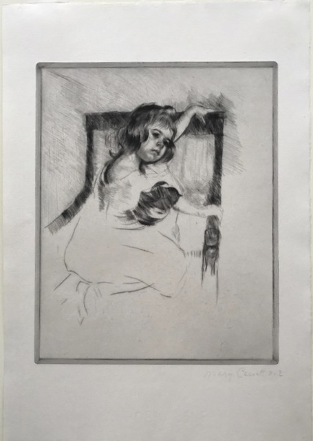 Drypoint engraving of a young girl kneeling in a chair