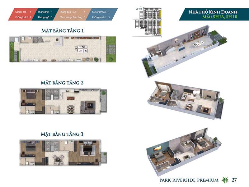 Mẫu thiết kế Shophouse Park Riverside Premium SH1A SH1B
