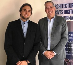 ayme Faria, gerente de consultoría para América Latina de Frost & Sullivan; Leonardo González- Morillo, director de ventas para la región Norte de Latinoamérica de VMware.