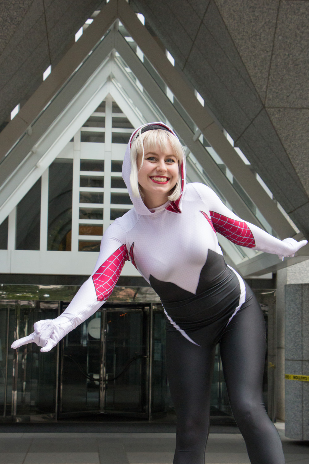 spider-gwen costume with real blonde hair