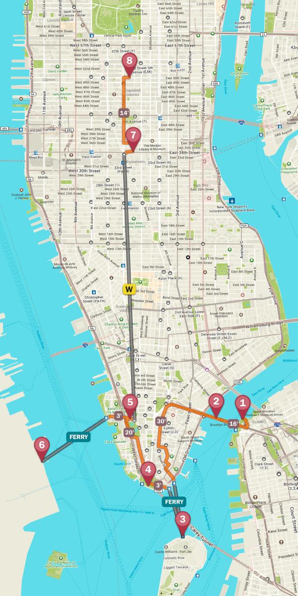 Mapa de nueva york con la ruta por los mejores miradores de la ciudad
