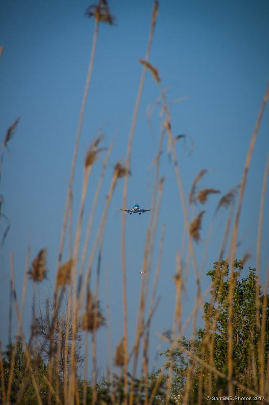 Aviones a punto de aterrizar en el aeropuerto del Prat