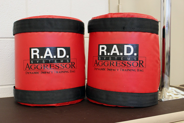 The red and black arm strike pads display R.A.D. Systems