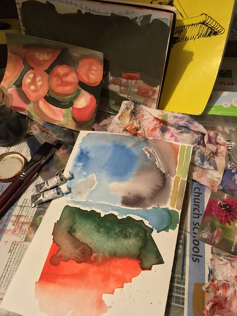 Studio space with various experimental watercolour paintings