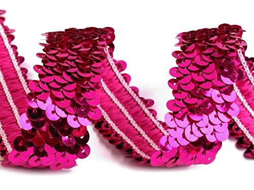 Paillettenborte elastisch 30mm, pink