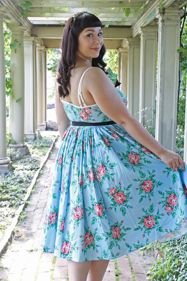 rose print retro dress