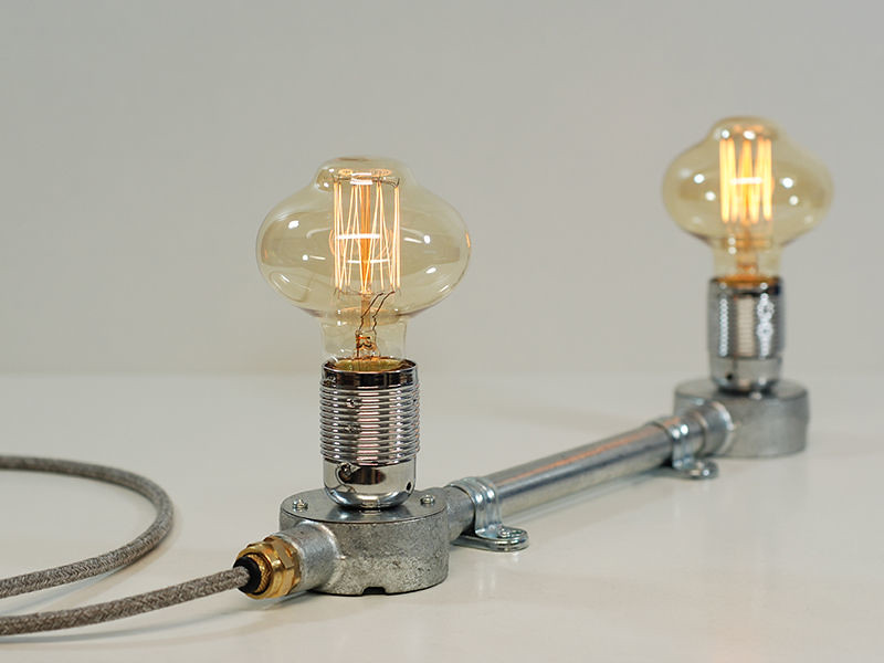 Industrial Vintage Plug In Wall Desk Lamp Twin Light