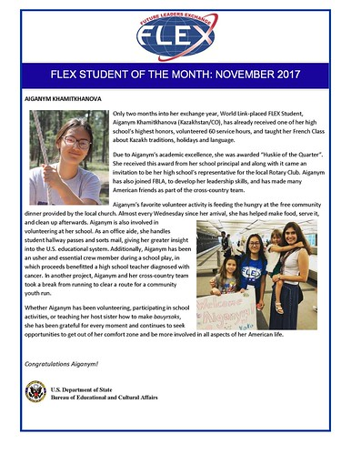 Congratulations to the November 2017 FLEX Student of the Month, Aiganym from Kazakhstan ! | by FLEXprogram