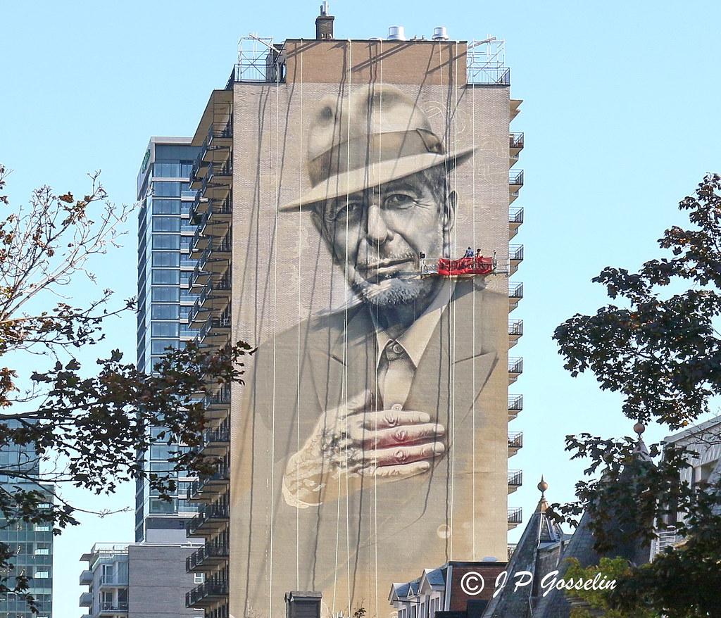 Leonard cohen mural tribute artist gene pendon aka g for Mural leonard cohen