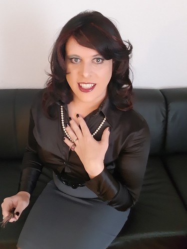 October 2017 - Black Satin Blouse And Tight Pencil Skirt -5489