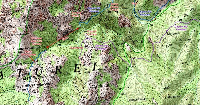 Carte de la partie amont du Finicione/Cavu jusqu'à Bocca di Castedducciu avec la trace du démaquisage du 12/10/2017 et la partie avale du Chemin RG du Finicione