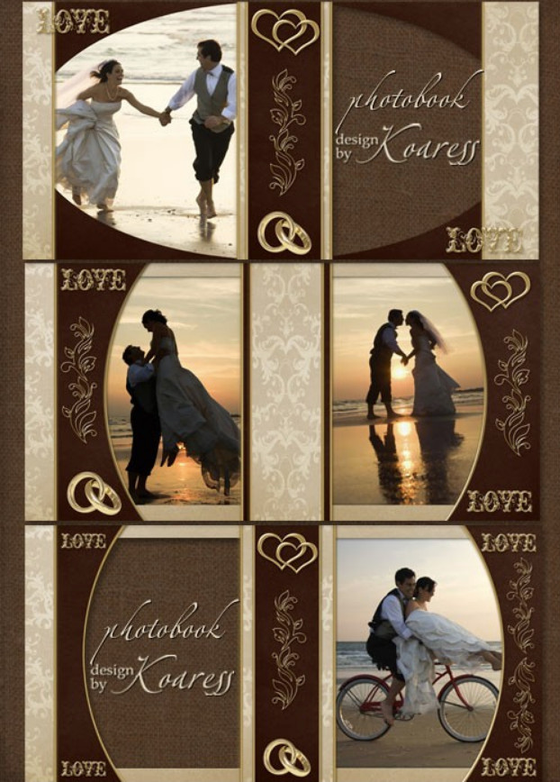 Romantic wedding photobook with gold inlay for Photoshop