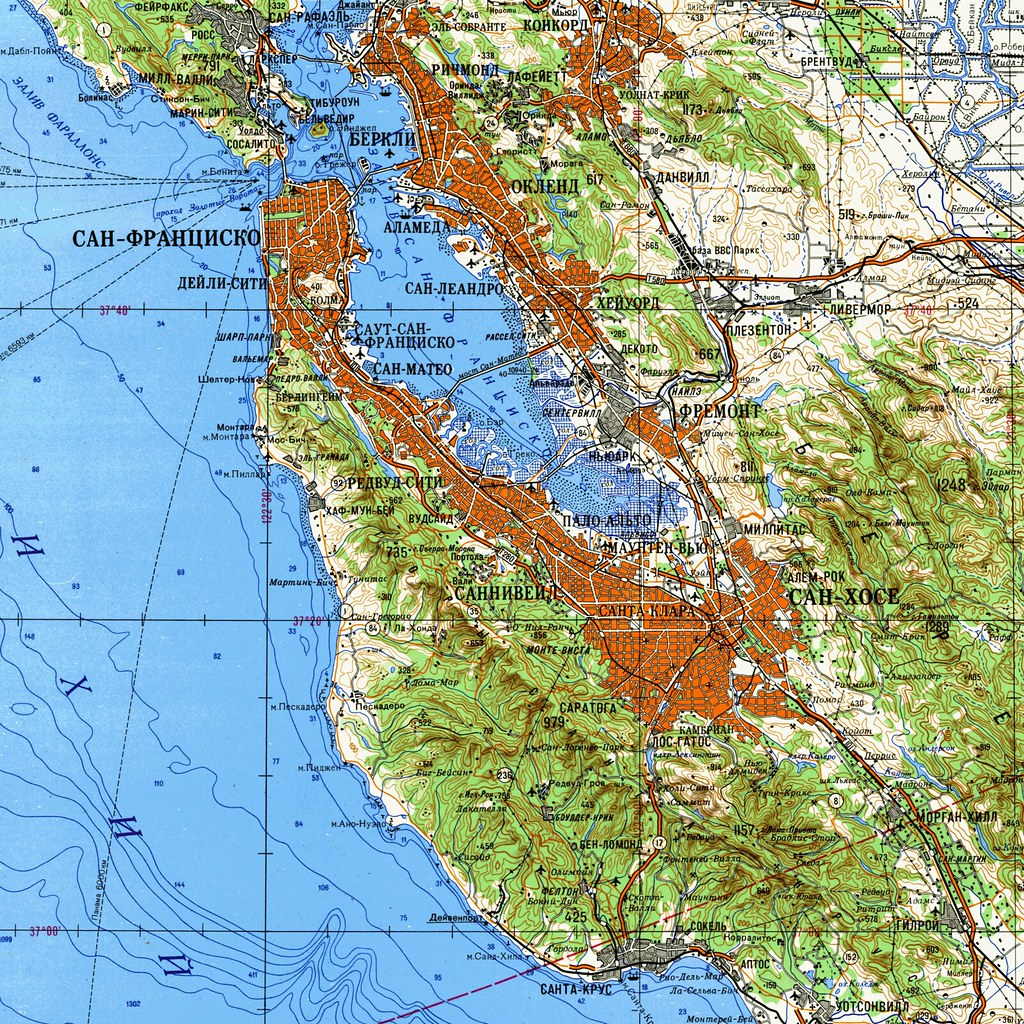 Map of the San Francisco Bay area (1980)