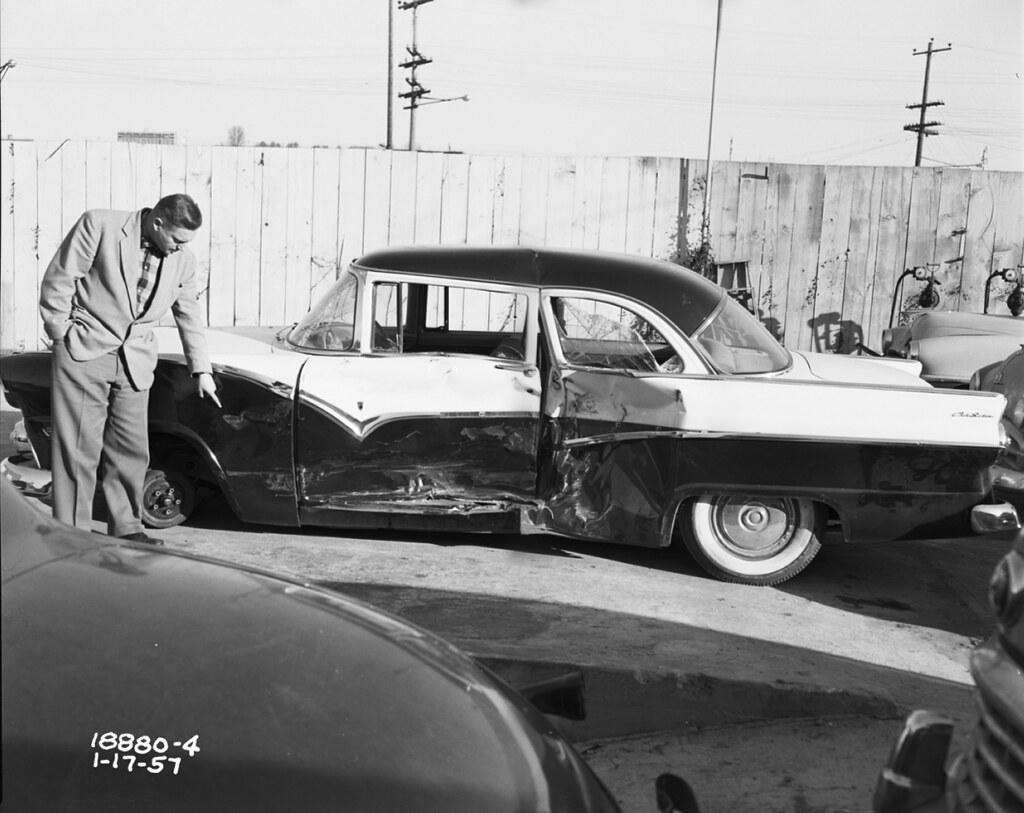 Car accident, 1957 | Item 54051, Engineering Department Phot… | Flickr