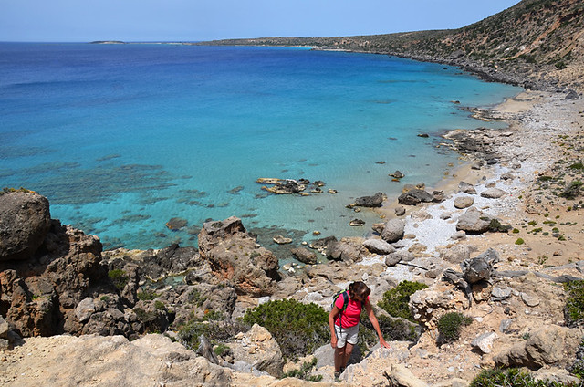 Walking, climbing from Beach, Crete