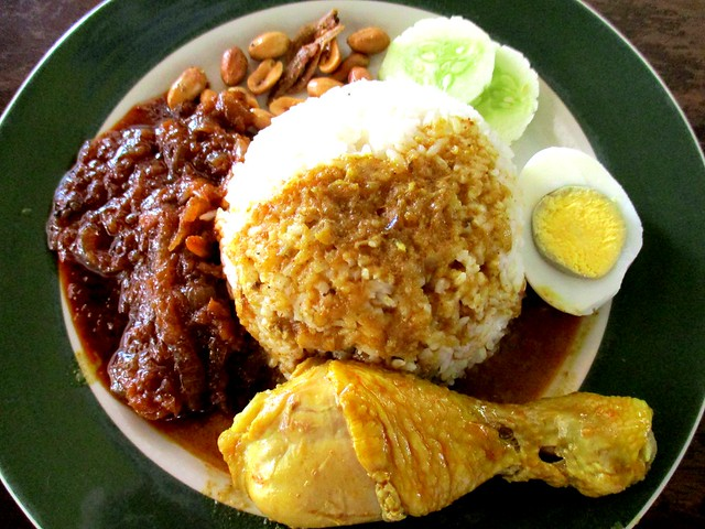 Colourful Cafe nasi lemak with chicken curry