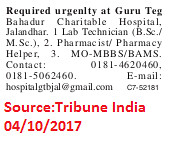 Guru Teg Bahadur Charitable Hospital,Lab Technician,Pharmacist,Jalandhar.
