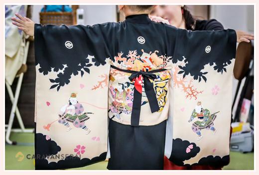 七五三写真 深川神社 愛知県瀬戸市 前撮り パパもママも着物 着物店あつみ 支度シーンからの撮影 ロケーションフォト